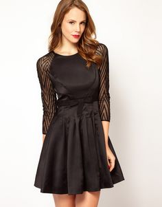 Karen Millen Zig Zag Mesh Sleeve Dress with Prom Skirt