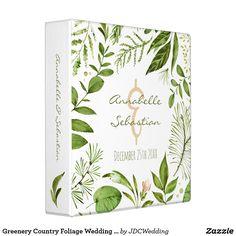 Greenery Country Foliage Wedding Leaves Pattern 3 Ring Binder