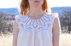 SALE Eco Cotton Tunic Crochet Lace Off White por RubyChicOriginals