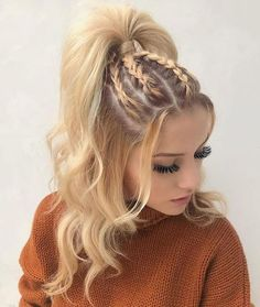 Coiffure tresse pour cheveux longs - hair styles for short hair - Hair Styles Natural Hair Styles, Short Hair Styles, Hair Styles Teens, Girls Long Hair Styles, Hip Hop Hair Styles, Hair Styles Summer, Long Hair Ponytail Styles, Hair Twist Styles, Ponytail Ideas