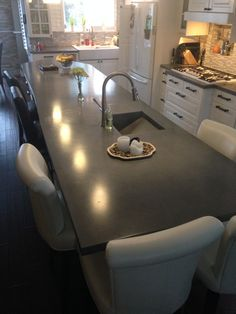 15 foot long island with 3 foot overhang eating area, prow end and integrated sink Long Island, Islands, Family Room, Sink, Vanity, Mirror, Furniture, Home Decor, Sink Tops