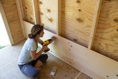 Shiplap boards slot right on top of each other, so it's pretty quick to install.
