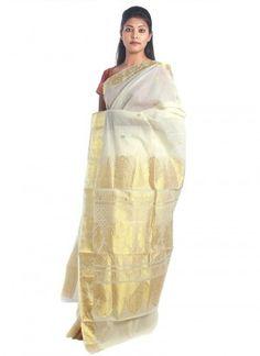 Lovely cotton kerala kasavu saree