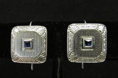 Vintage Estate 14K White Gold Art Deco Etched Coverted Cufflink Earring on Hooks by Alohamemorabilia