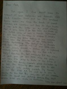 If my son ever writes me a letter like this, I will be so insanely proud to call him MINE. Hilarious!