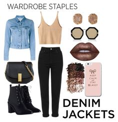 """Denim Jackets"" by londero-danielle ❤ liked on Polyvore featuring WithChic, Acne Studios, Topshop, Zimmermann, Marc Jacobs, Karen Walker, LORAC, Lime Crime, denimjackets and WardrobeStaples"