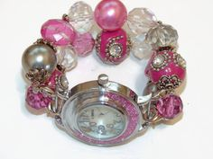 Hot Pink Chunky Beaded Watch  Interchangeable Chunky by BeadsnTime