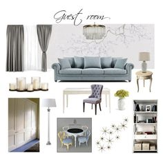 Guest room by veryvlada on Polyvore featuring interior, interiors, interior design, дом, home decor, interior decorating, Butler, Pottery Barn, nOir and Global Views