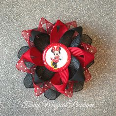"NEW /""MINNIE MOUSE RED/"" Girls Ribbon Hairbow Clip Bow Boutique Sculpture Disney"