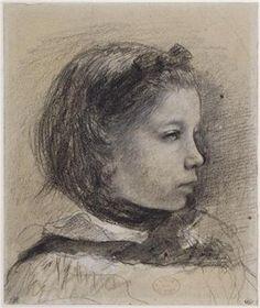 Edgar Degas, 1834-1917, French, Portrait of Giulia Bellelli, n.d.  Black crayon and grey wash, 23.6 x 19.6 cm.  Musée du Louvre, Paris.  Impressionism.