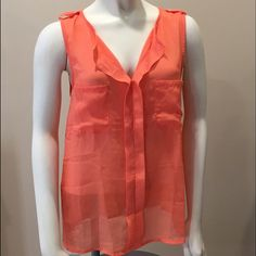 Sheer Orange Dress Top Brand new with tags. Never been worn. Sheer in the front and a cotton material in the back. Tresics Tops Blouses