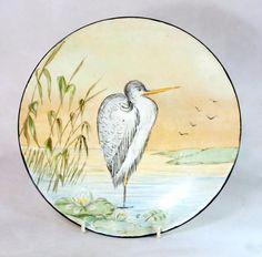 Art Deco Vintage Mintons Handpainted Heron River Scene Cabinet Plate 1939 - Ebay 0.99p