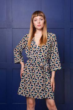 e2b14daff5 Kimono Dressing Gown, Kaleidoscope Satin Robe, Marrakech Blue, Geometric  Print Robe, Bridesmaid Gift, Wrap Dress, Silky Kimono Dressing Gown