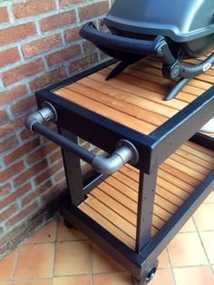 Grill Table With Stainless Steel Top Diy Love The Pipe Handle