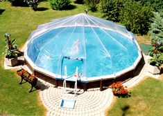 Round Above Ground Swimming Pool Solar Sun Dome Replacement Cover Heater Sundome | eBay