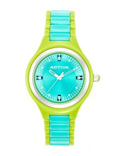 Women's Lime Green & Teal Plastic Watch by Activa Watches at Gilt