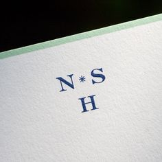 Bone White Corinne card with Seaglass Green Border and Regent Blue Monogram Monogram Stationary, Monogrammed Stationery, Stationery Design, Wedding Stationery, Wedding Invitations, Oyster Bay New York, Hand Engraving, Letterpress, Oysters