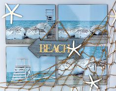 Beach wall decor ideas and how to make a fishnet tutorial. How to make a fishnet from twine to add coastal look to walls.
