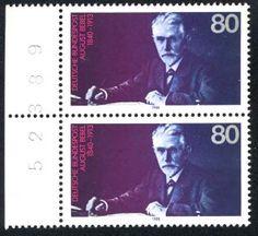 1988 gedachte die Bundesrepublik des 75. Todestages August Bebels, MiNr. 1382: http://d-b-z.de/web/2013/08/13/todfeind-dieser-buergerlichen-gesellschaft-august-bebel-briefmarken/