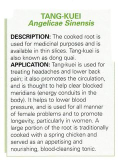 Chinese Herb - Angelicae Sinensis  Root is used