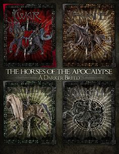 The Four Horses by ADarkerBreed on DeviantArt Apocalypse Art, Horsemen Of The Apocalypse, Horse Artwork, Cool Artwork, Dark Fantasy Art, Dark Art, Death Reaper, Four Horses, Satanic Art