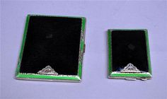 Art Deco silver and enamel cigarette and matchbox case set, Adie Brothers, Birmingham, 1931