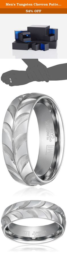 Men's Tungsten Chevron Pattern Wedding Band, Size 12. For a durable finish of lasting elements, slide on the Men's Tungsten Chevron Wedding Band. Forged from tungsten carbide compounds (the same used in industrial machinery and tools), the wedding band offers superior strength and hardness compared to regular steel. Adding to the beauty of the finish is a notable, chevron pattern along the outer edge, imparting generous and flattering detail. Highly resistant to scuffs and scratches, the...