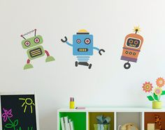 Cute Robots Decal  Group Vinyl Wall Art  by StephenEdwardGraphic
