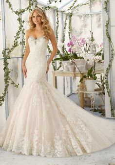 Crystal Beaded Embroidery with Alencon Lace Appliques and Scalloped Hemline Edging Tulle Wedding Dress | Morilee