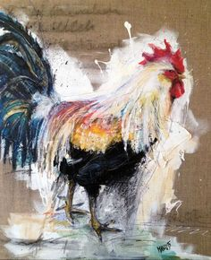 """Rooster"" Collage / Painting.. and some feathers, can you see them?"
