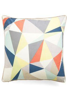 Graphic Diner Pillow - Multi, Orange, Yellow, Blue, Tan / Cream, White, Print, Dorm Decor $40