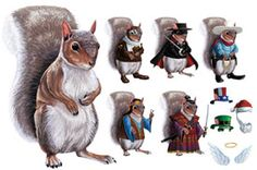Dress-up squirrel fridge magnets