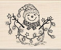 Inkadinkado Wood Stamp, Snowman - - Cute and festive, this Inkadinkado Snowman wood stamp is designed by Lyn Dillin. Perfect for holiday cards, gift tags, scrapbo Christmas Wood, Christmas Crafts, Christmas Ideas, Wood Carving For Beginners, Christmas Doodles, Wood Burning Patterns, Wood Stamp, Christmas Central, Stained Glass Patterns