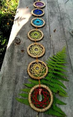 Chakra dream catcher chain with wire by ConsciousEarthCreate