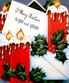 Vintage Christmas card with candles and Holly.