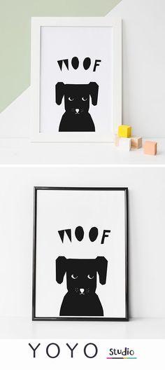 Dog Woof Print. Monochrome printable Nursery Art. Illustrated animal prints for children's rooms.