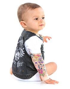 Biker Baby Romper exclusively at Spirit Halloween - Show off your baby to the world when they are bad to the bone in this awesome Biker Baby Romper. This romper is designed to look like your baby has tattooed arms along with a leather vest jacket. Get this Biker Baby for $19.99.