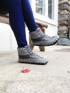 Crochet Slipper Boots for Men & Women with Leather Soles, Wool Mukluks, Knitted Wool Slippers, Slipper Booties, Crochet Wool Boots