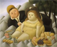 Picnic in the Mountains (1966) by Colombian artist Fernando Botero (born 1932).
