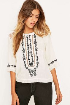 Kimchi Blue Embroidered Boxy Top