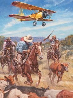 """""""A Good Way to Get Shot Down"""" ©2014 Steve Atkinson www.SteveAtkinsonStudio.com  Back when the barnstormers stormed into the West, sometimes they couldn't resist buzzing the cattle and cowboys they flew over. These cowboys ain't none to happy about it, and if they get a chance might just take a shot to teach the pilot a lesson he won't soon forget."""