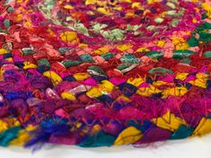 Braided Silk Rope Trivet Spring Snack Mat Handmade Fabric | Etsy