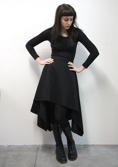 Black Knit by Tightrope. Black Skirt by GHST RDR by Zoetica Ebb for Plastik Wrap. Black Tights by Voodoo. Black Boots by Dr Martens