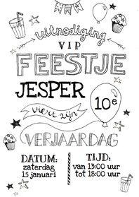 Een stoere uitnodiging in zwart en wit met handlettering voor een kinderfeestje! Naam, leeftijd, datum en tijd zijn aan te passen.