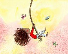Redhead Girl, Brunette Girl, African American Girl, American Art, Girl Swinging, Butterfly Art, Whimsical Art, Hair Art, Blue Bird