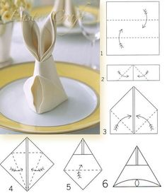 Bunny Napkin Fold how to. Easter rabbit-shaped napkins are a festive detail for the holiday table, and they only require a few simple folds. Easter Crafts, Holiday Crafts, Holiday Decorations, Bunny Napkin Fold, Diy Ostern, Easter Party, Easter 2018, Easter Dinner, Paper Napkins