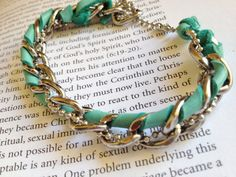 Chunky Chain and Teal Leather Bracelet by LoveMeAccessories