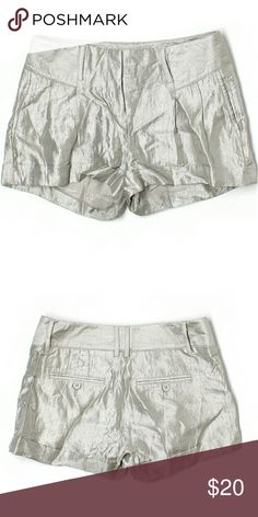 Express Mid Rise Silver Metallic Shorts Size   00 Retail $40         Dress it up with a black blouse, chunky jewelry and booties!       #silver #metallic #shiny #shorts #midrise #express #bling #rave #summer #spring #dressy #fancy                                   M3 Express Shorts