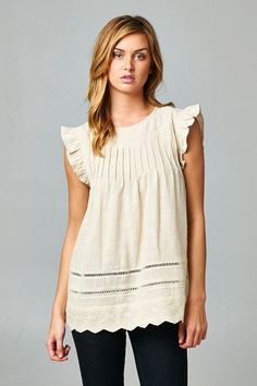 Look what I found on Taupe Scallop-Sleeve Tunic by Esley Collection Cool Outfits, Fashion Outfits, Casual Street Style, Work Attire, Types Of Fashion Styles, Everyday Fashion, Passion For Fashion, Spring Summer Fashion, What To Wear