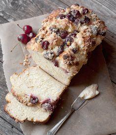 Sweet Yeast Bread + Cream Cheese, Fresh Cherry & Crumble Topping